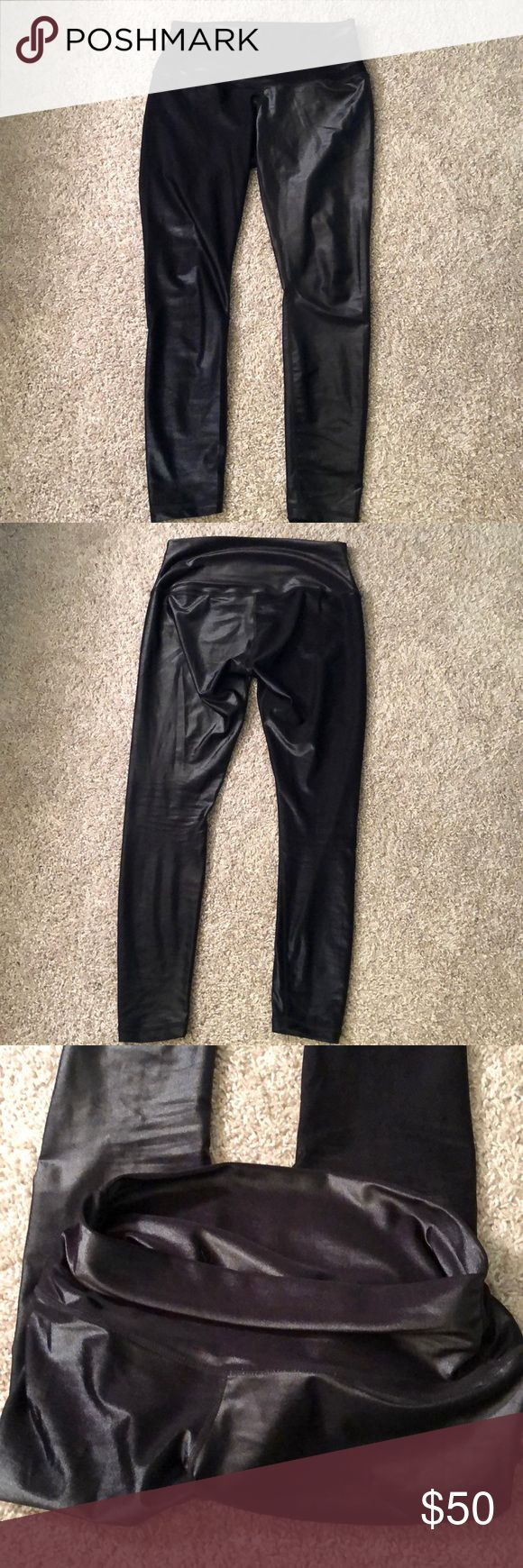 "DYI Define Your Inspiration high shine leggings The label has peeled off (it was tagless) but I've only worn these a few times. Runs small. I'm 125 lbs and 5'7"" and they fit me. Always hand washed and air dried. dyi Pants Leggings"