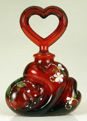 Ruby Perfume bottle.Blood Red, Fenton Glasses, Ruby Heart, Heart Perfume, Cranberries Glasses, Fenton Art, Glasses Perfume Bottle, Glass Perfume Bottles, Art Glasses