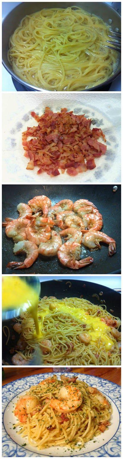 Shrimp and Bacon Carbonara #recipe