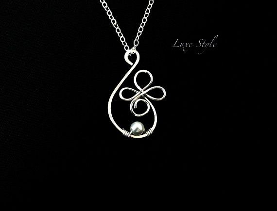 Hand Made Wire Pendants | ... Wire wrapped Pearl White Contemporary Unique design Handmade Jewelry