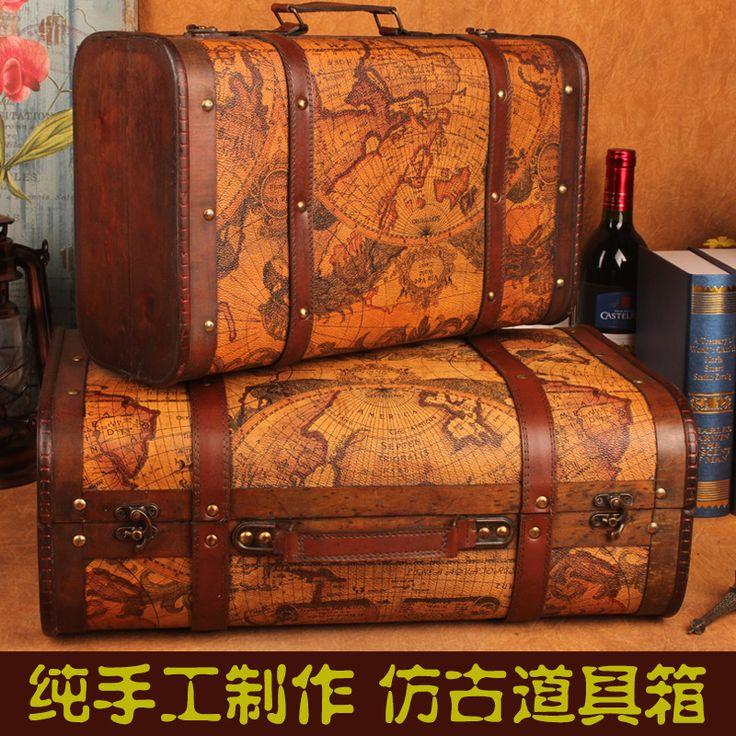 Goedkope europese vintage houten boxen opbergbox koffer van kleding creatieve draagbare opslag box grote omvang fotografie rekwisieten doos, koop Kwaliteit Opslag Dozen & Bins rechtstreeks van Leveranciers van China: product details