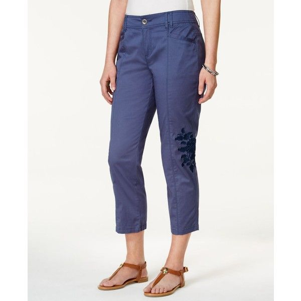 Style & Co Floral-Embroidered Capri Pants ($30) ❤ liked on Polyvore featuring plus size women's fashion, plus size clothing, plus size pants, plus size capris, new uniform blue, cargo style pants, white trousers, cropped capri pants, cargo trousers and style&co cargo capri pants
