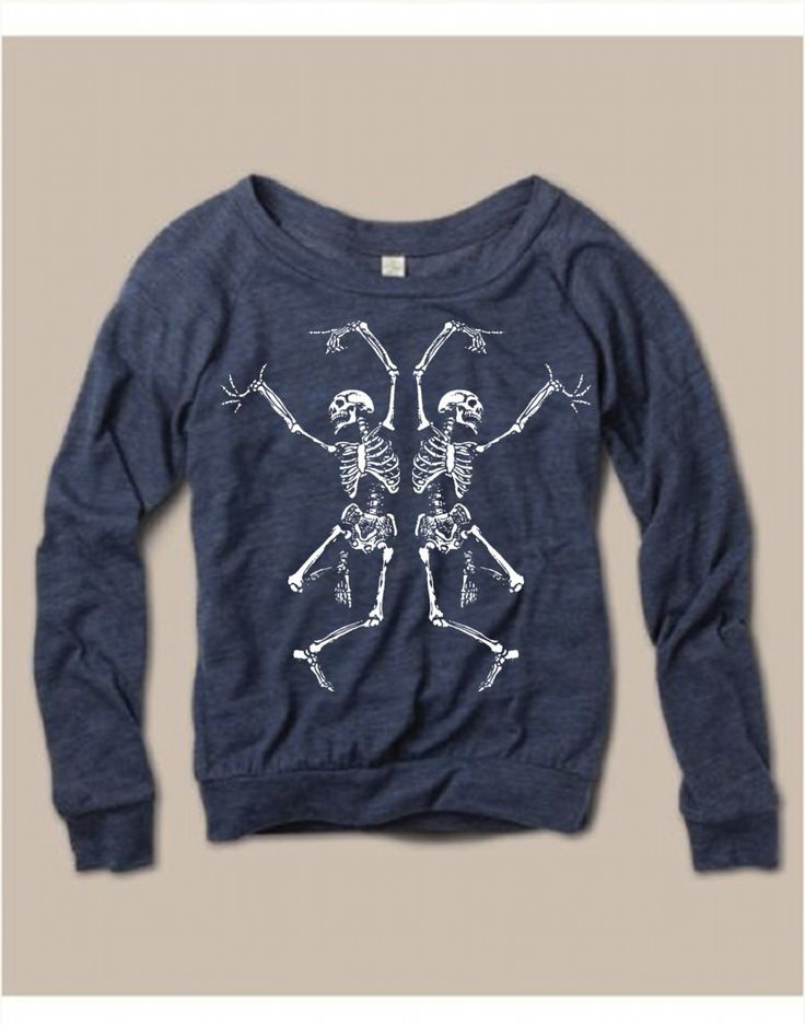 grappige trui met dansende skeletten  by FreeBirdCloth on Etsy