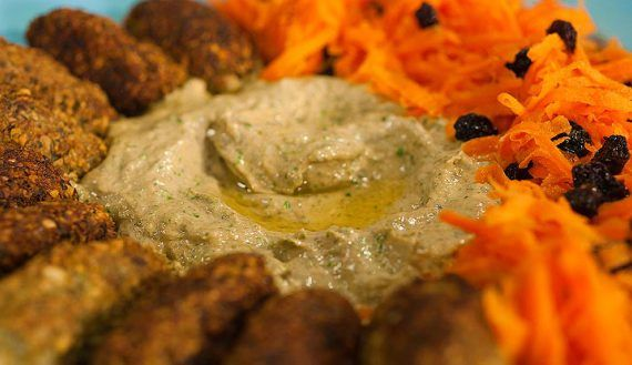 Falafel with Carrot Salad and Green Tahini