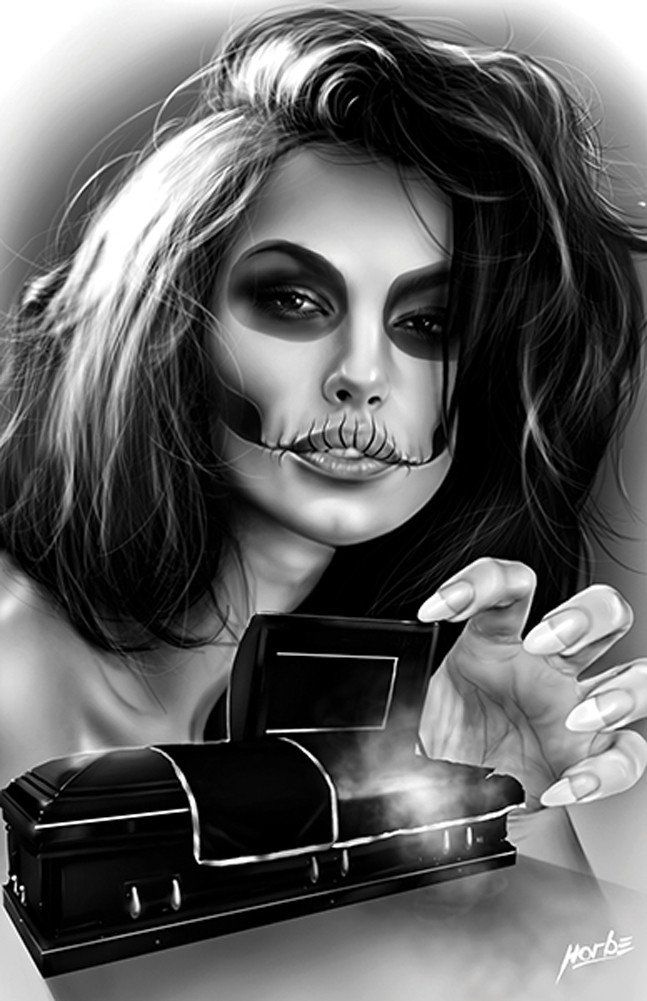 Open Coffin by Horbe Sexy Woman Rip Memorial Tattoo Canvas Art Print – moodswingsonthenet