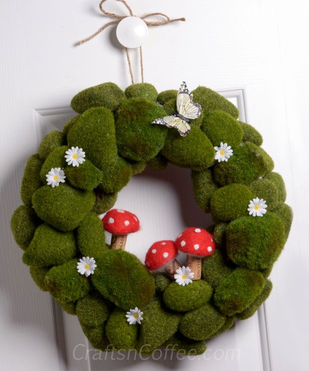 Spring Moss Rock Wreath (made with moss rocks from the Dollar Store and felted mushrooms with wine cork stems)