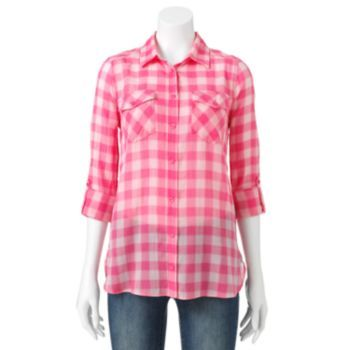 Sonoma life style textured roll tab camp shirt women s