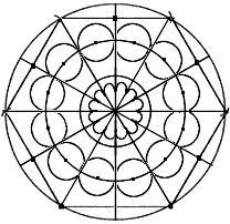 geometric drafting of a rose window or compass rose