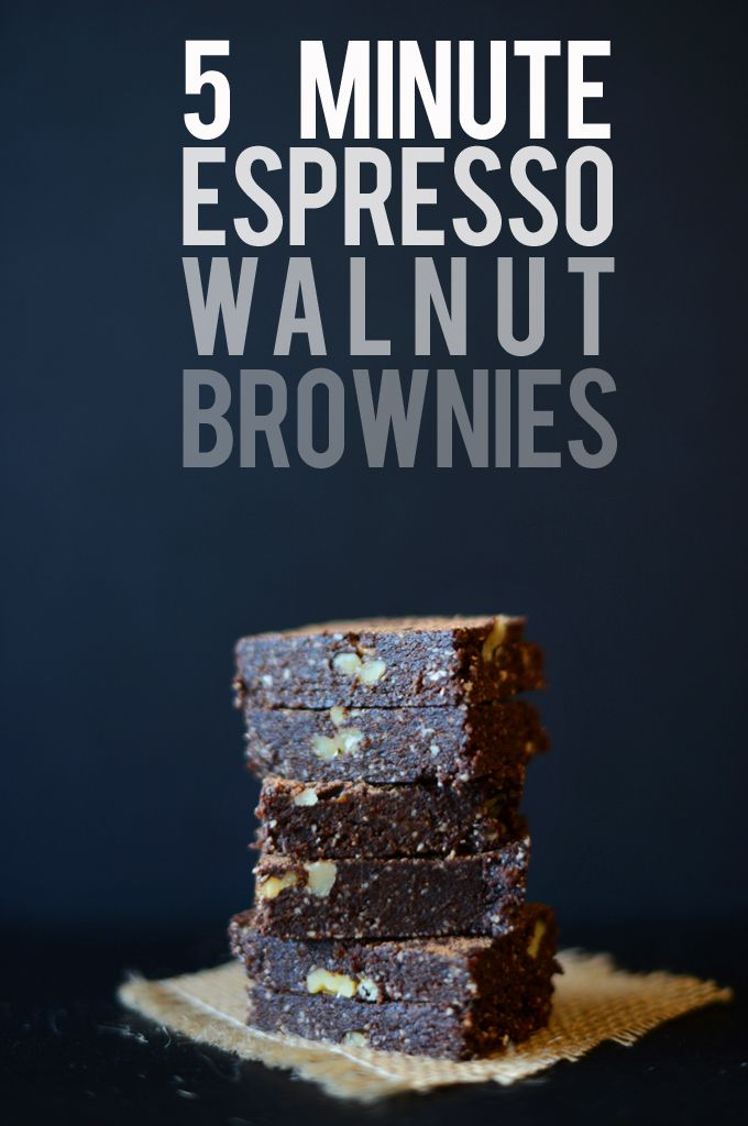 5 Minute Espresso Walnut Brownies by minimalistbaker: No butter, sugar or flour. No bake.  #Brownies #GF #No_Bake