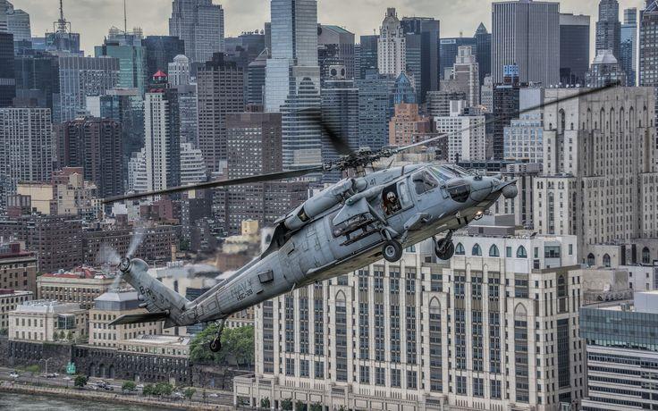 helikopterler, askeri uçak, uçak, Sikorsky UH-60 Black Hawk, şehir, şehir uydusu, gökdelen