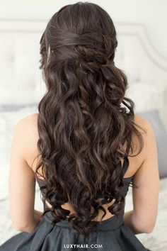 Hairstyles For Valentine's Day - Romantic Date Night Hair with clip-in Mocha Brown Luxy Hair extensions added in for length and volume.