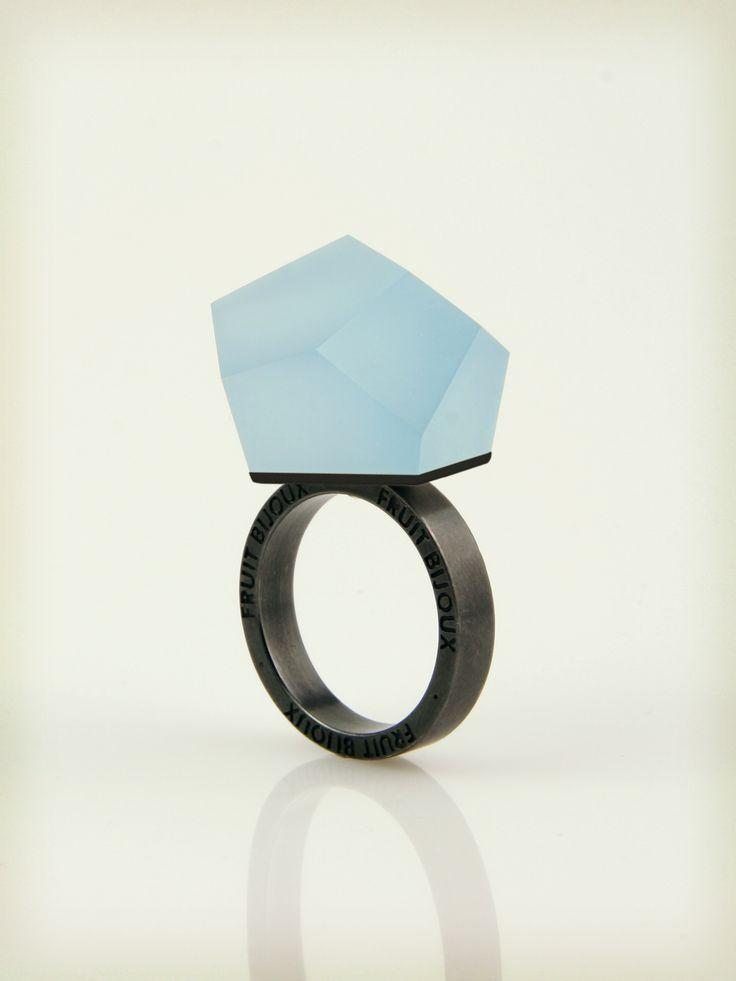 Vu - sky blue, ruthenium ring - =PYO=