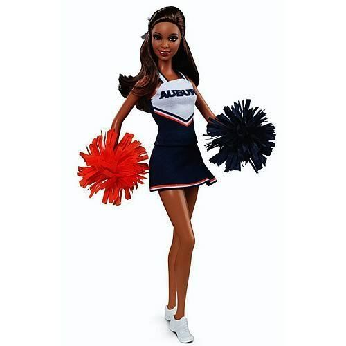 Auburn University Barbie Doll (African American) by Mattel. $22.56. Stand up and yell, 'Hey!. This excellent Barbie Auburn University African American Cheerleader Doll celebrates Auburn University's campus spirit. Dressed in her team uniform, Barbie doll is proud to cheer for the orange and blue Tigers and ready to rally the crowd.. Barbie doll stands 11 1/2-inches tall.. War... Eagle, win for Auburn, power of Dixie Land!'. Ages 6 and up.. Pink Label ~ Auburn Universi...