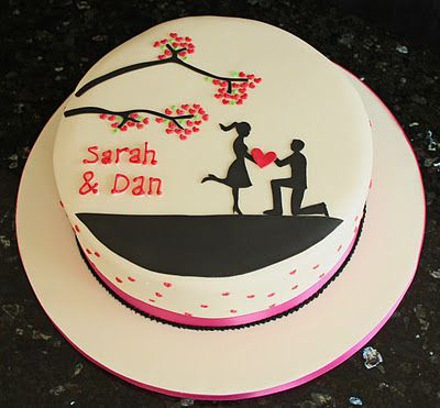 A simple silhouette Engagement cake by Vanilla (Vanillalila). The little hearts on the branches are a beautiful touch!