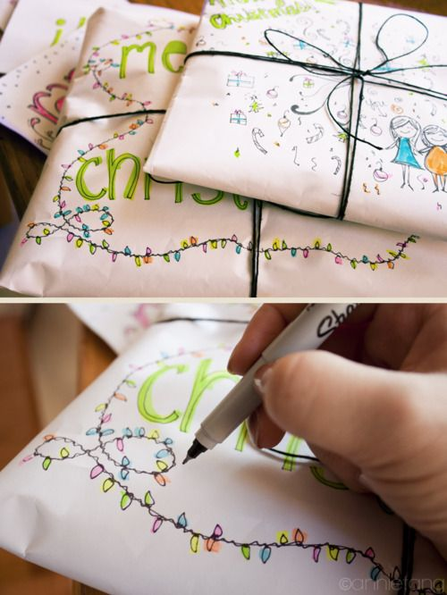 Cute design works for either wrapping paper, or to decorate the envelope you're sending a Christmas card in. c: