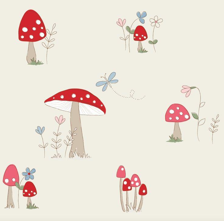 'Toadstool' Children's fabric, Fryett's Fabrics