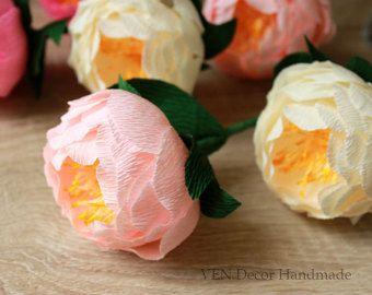 3 peonías de papel flores de papel de novia por VENDecorHandmade