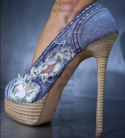 denim + lace+shoes!!!
