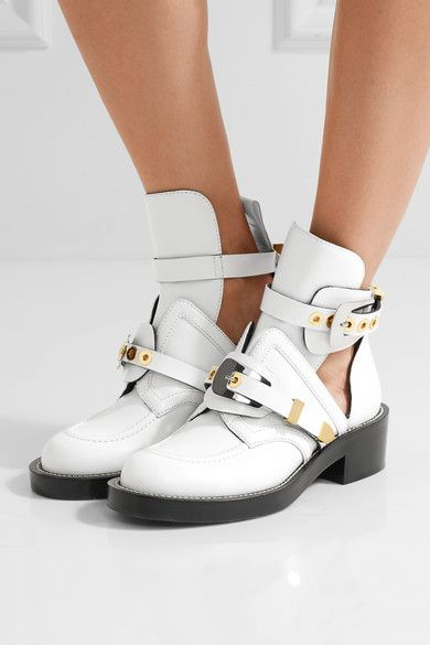 Balenciaga - Buckled Cutout Leather Ankle Boots - White - IT37.5