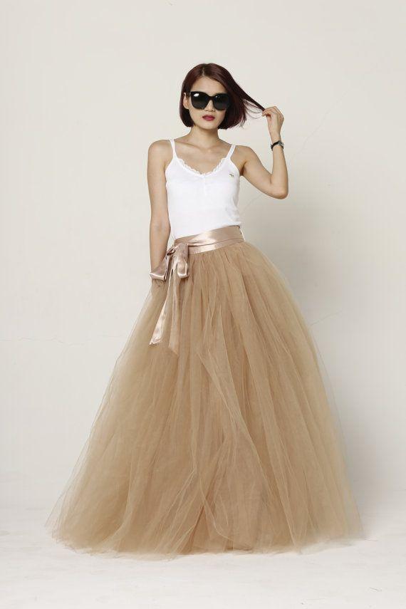 Tulle Skirt Floor length Tutu Skirt Fixed Waist by Sophiaclothing