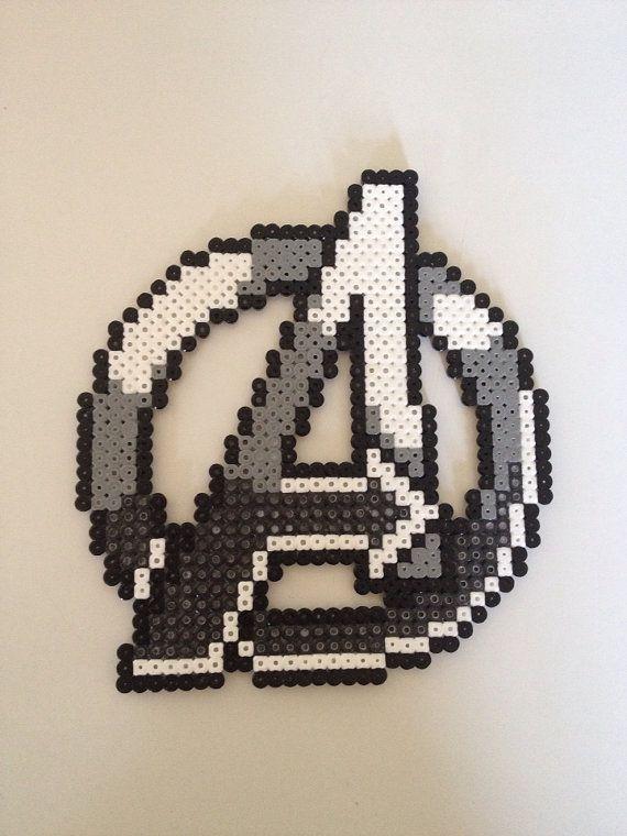 Avengers Marvel logo perler beads by PlanetPixel on Etsy