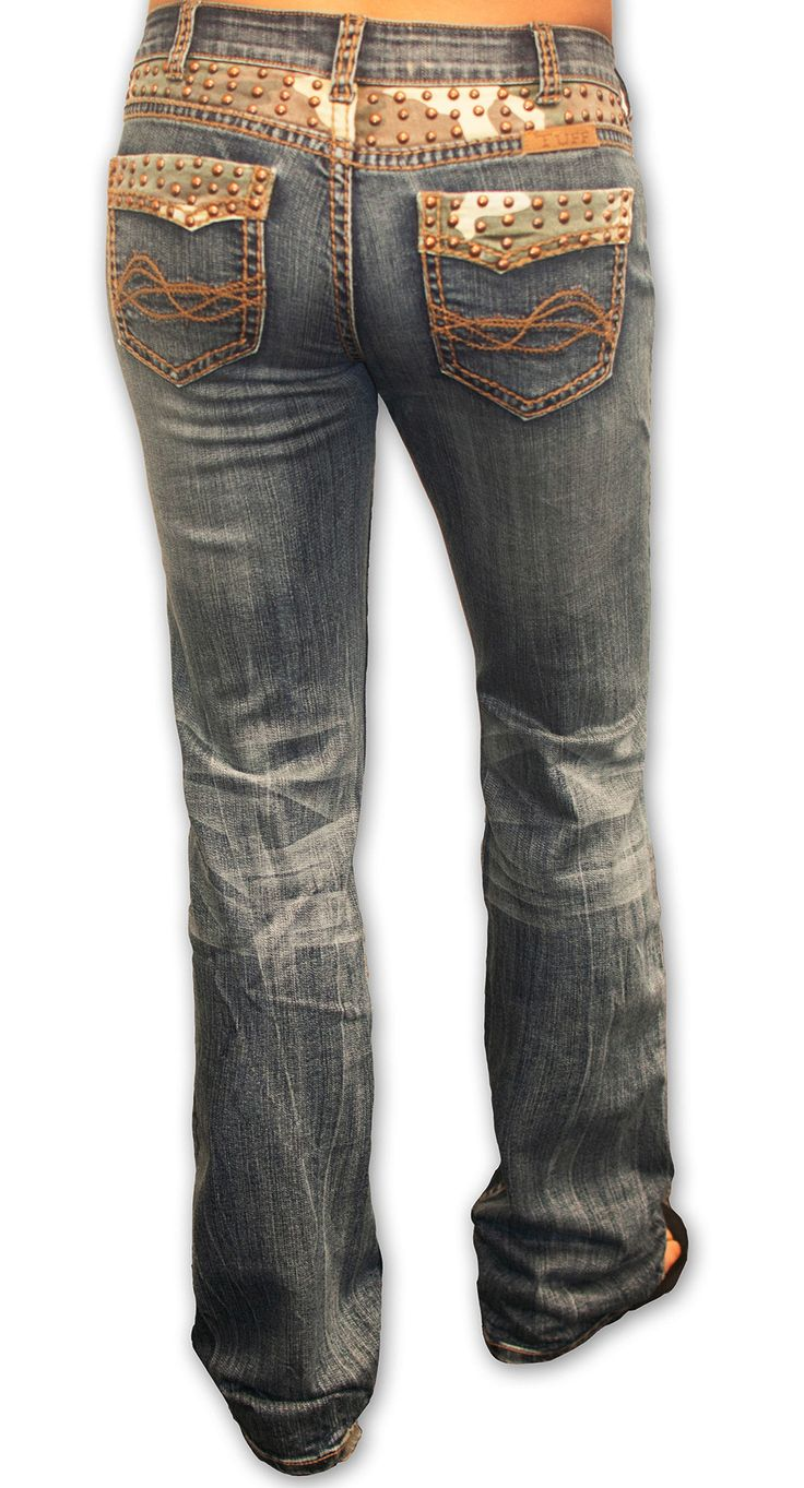 Cowgirl Tuff Womens Blue Cotton Blend Jeans Copper Studded Camo