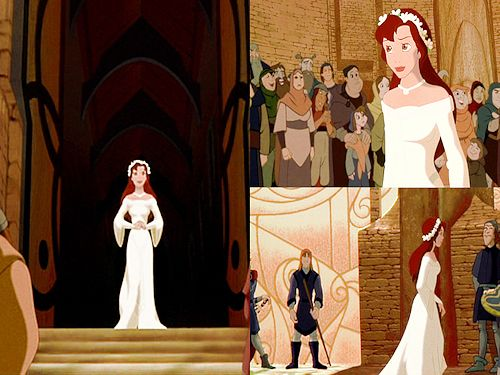 When I get married, I want my wedding dress like Kayley's dress at her knighting at the end of the movie. Only I want the bell sleeves just a little bit longer. and btw, Quest For Camelot is NOT a Disney film.