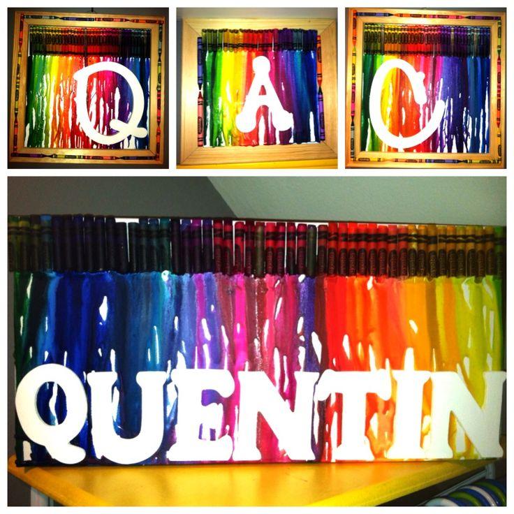 Crayola crayon canvas nursery initials name diy for Crayon diy canvas