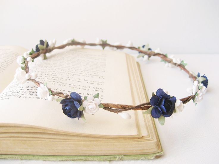 Flower Crown, Navy White Wedding Hair Accessories, Bridal Headpiece, Circlet, Halo, Floral Headband, Simple, Rustic, Nautical, Beach by NoonOnTheMoon on Etsy