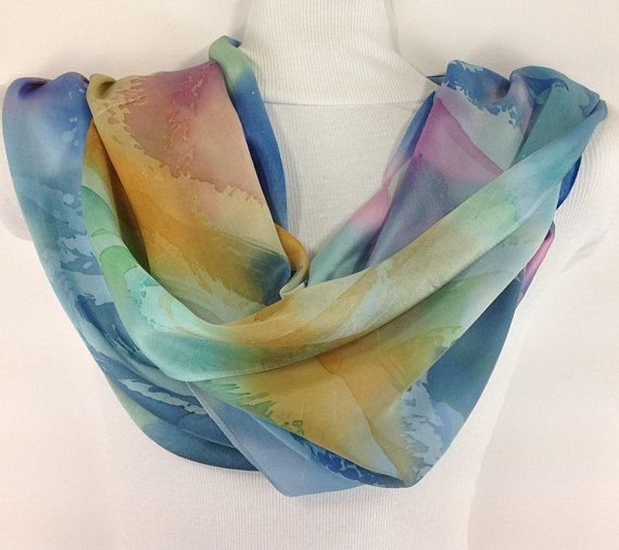 This Silk Scarf Hand Painted 100 Silk Satin Charmeuse Is Pink Purple Blue And Warm Yellow Soft And Fun Pastels Hand Dyeing Shawls And Wraps Summer Scarves