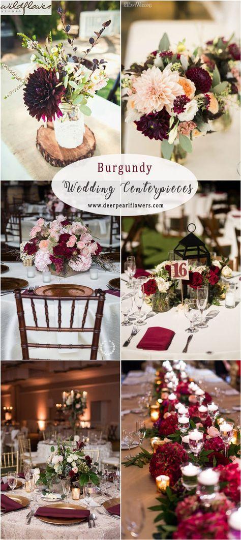 burgundy fall wedding centerpiece decor ideas  weddings  weddingcolors  fallweddings