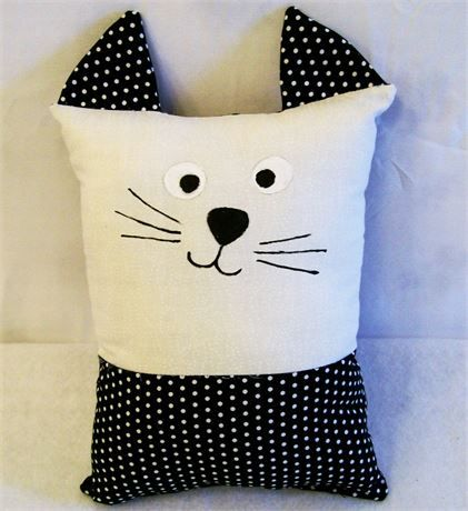 Kids Sleep and Black Dot Kitty Pillow Buddy, Gift for Kids, Toys for Kids   This little kitty pillow can be a play buddy, a sleep buddy, a tag along comfy pillow or most any kind of toy you want it to be.   This little pillow is 9 tall and 6 wide not including the ears.   Just the right size for little hands and arms to wrap around and hug.   This would make a great gift for any little one. If you like it but not the colors just let me know the colors you want and I can make it for you…