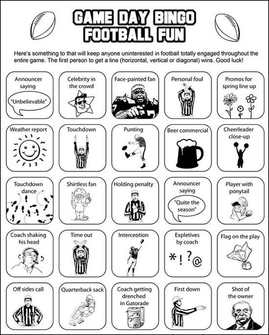 Super Bowl Bingo! ...even though I love football this would be fun to have at a Super Bowl party or on College Game day