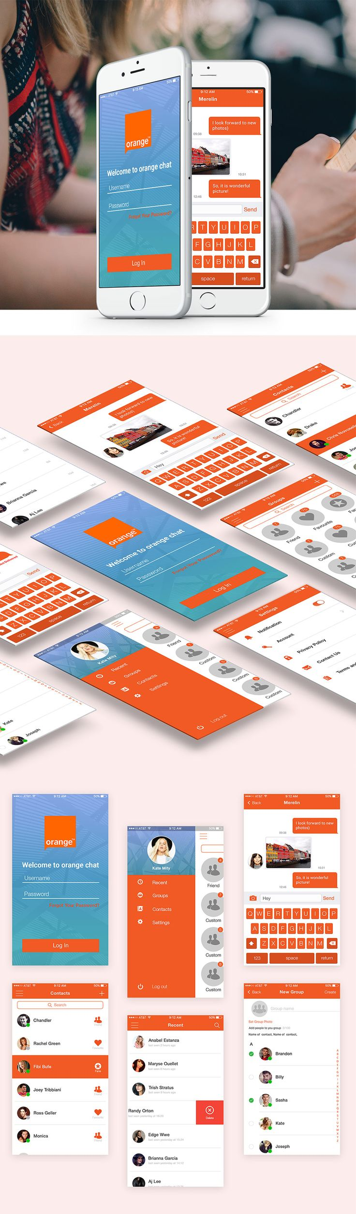 Nice Mobile Chat Application UI Design Free PSD Set. Download Mobile Chat Application UI Design Free PSD Set. Modern chat app design ui / ux available to download in photoshop layered psd format. This Orange Chat iOS ui kit contains 6 screens which will help in creating your own app. It will also provide the necessary inspiration to create other designs. Hope you like it. Enjoy!