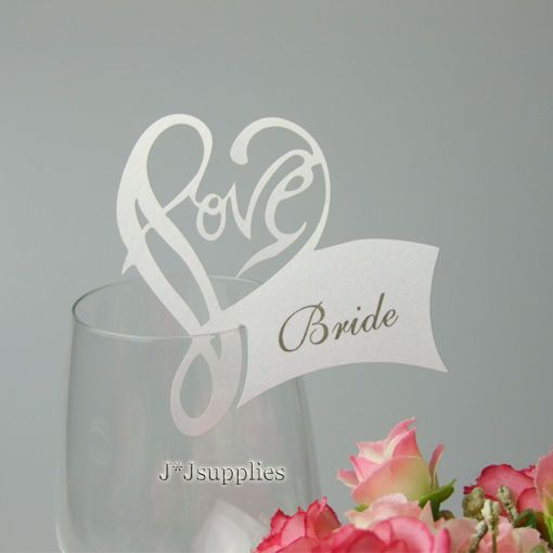 50x laser love heart wedding name place card for wine