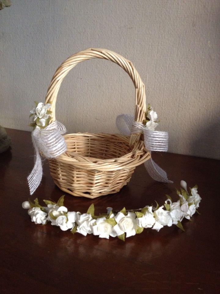 Medias coronas de flores y cestas para niñas de arras