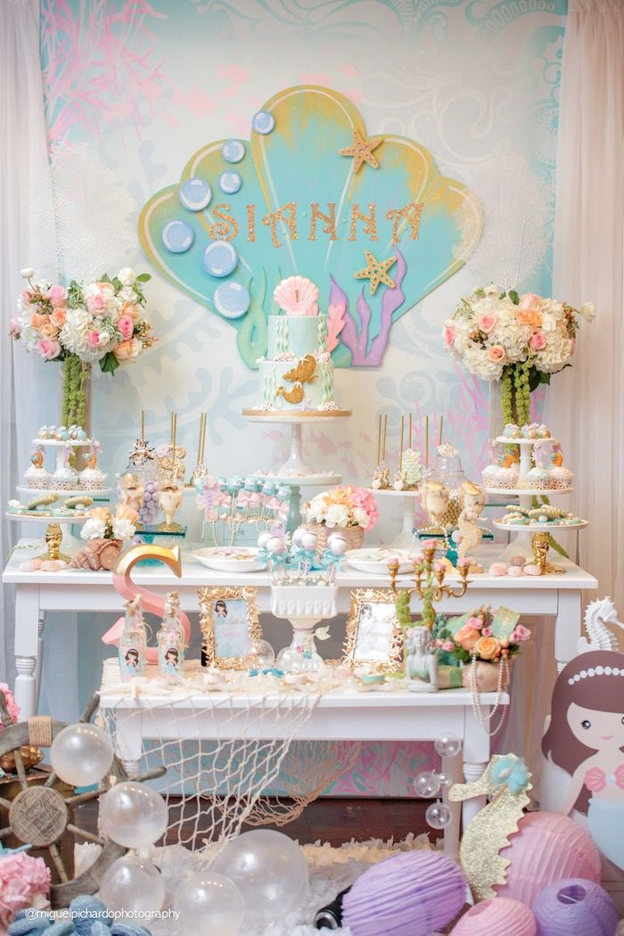 Sweets table from Pastel Mermaid Birthday Party at Kara's Party Ideas. See the ocean of details at karaspartyideas.com!