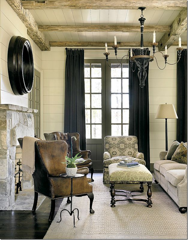 Swoon...gorgeous, rustic beams on the ceiling!