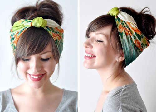how to tie silk scarfs as head wrap. Love her bangs