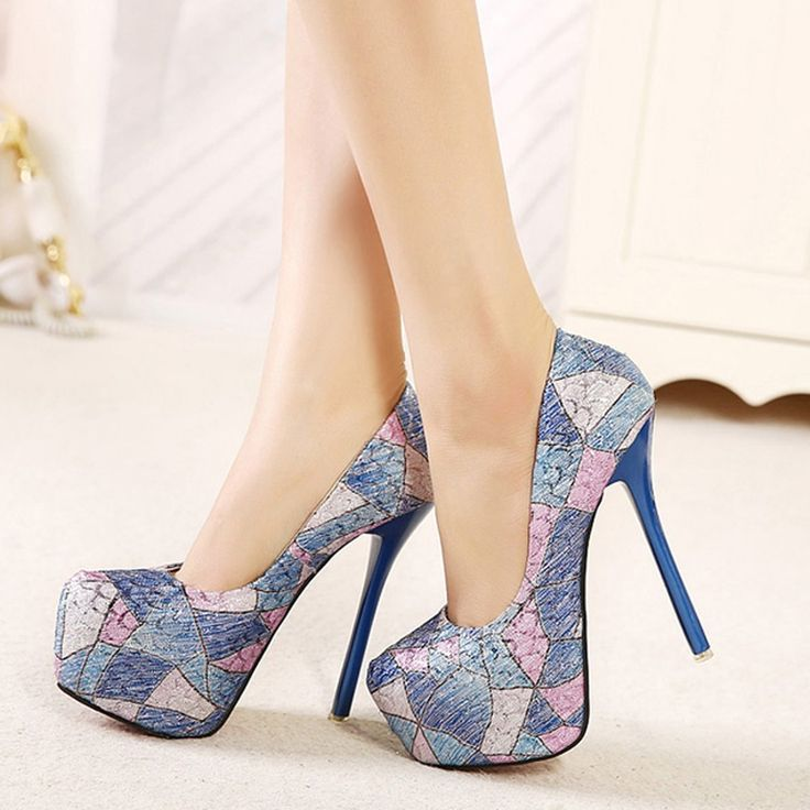 Shoespie Color Contrast Round-toe Platform Heels