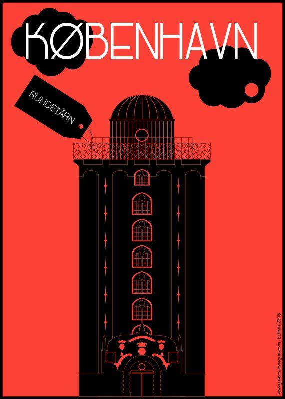 Rundetårne Red - Poster 50x70cm or 30x40cm