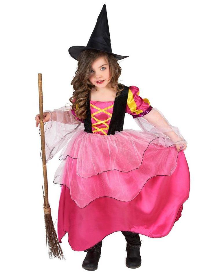 Halloween déguisement fille Sorcière rose Taille 4 à 12 ans