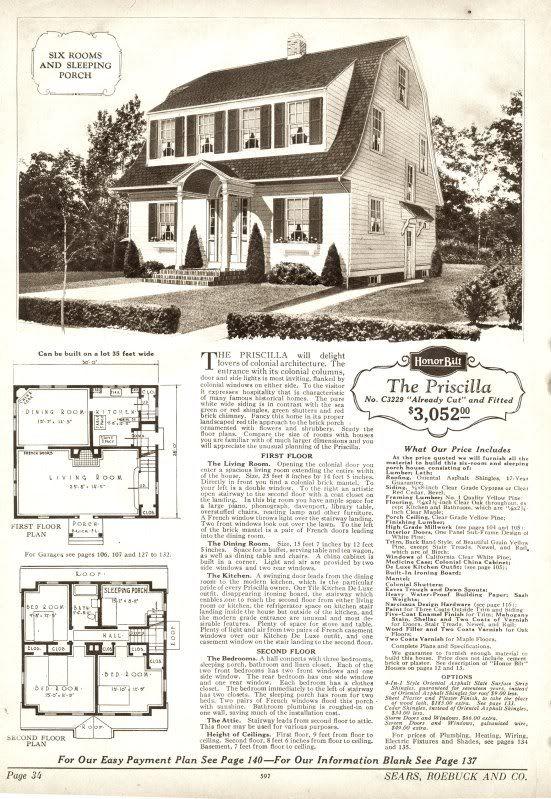 Sears Priscilla 1925 3229 1926 P3229 1927 1928 C3229
