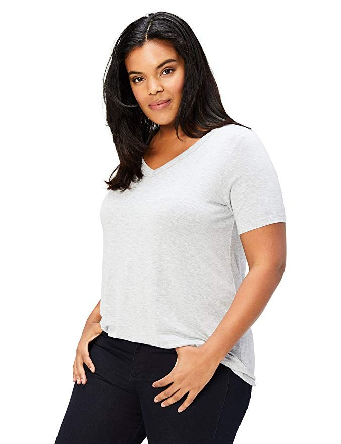 c635bd96abf Daily Ritual Women s Plus Size Jersey Short-Sleeve V-Neck T-Shirt ...