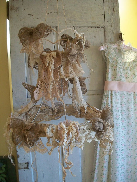 Large wire lampshade up cycled tattered salvaged lace fabric shabby large wire lampshade up cycled tattered salvaged lace fabric shabby cottage chic ornate lamp shade lighting decor anita spero design wire lampshade aloadofball Gallery