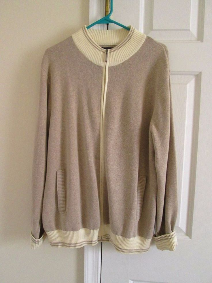Mens International Waters Beige/Cream Cardigan Zip Front Pockets Large #InternationalWaters #Cardigan