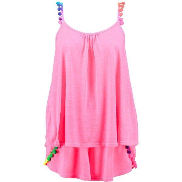 Boohoo Layla Multi Coloured Pom Pom Beach Co- Ord (84 BRL) ❤ liked on Polyvore featuring swimwear, bikinis, high-waisted bikinis, high waisted two piece bikini, triangle bikini swimwear, bandeau bikinis and high waisted bikini