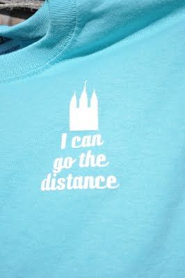 """""""I can go the distance,""""  LDS youth 5k shirts."""
