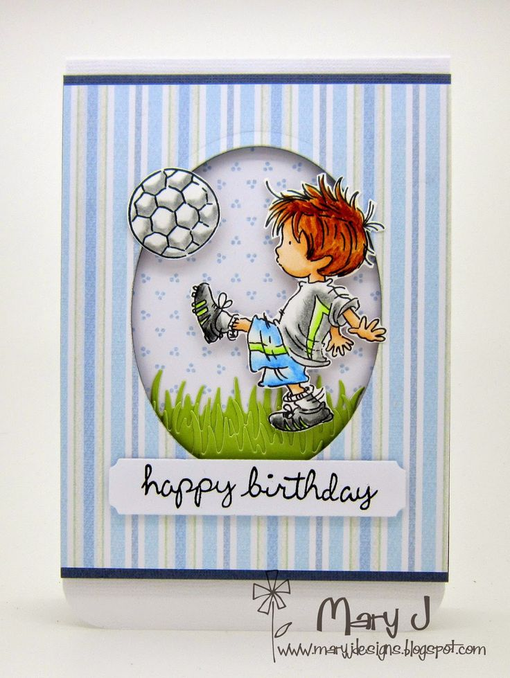 handmade birthday card using Super Striker stamp and Petal Fresh papers by Lili of the Valley ... cute little guy kicking a soccer ball ...