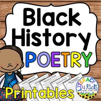These original poems are perfect to use during Black History Month. Use for choral reading, reading comprehension, and even Black History Month poetry recitation and memorization. Hold a readers' theater activity during Black History Month. During this activity, students can dress as the notable African Americans and recite the poems for an audience.